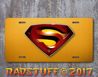 """Red Superman Logo on Gold Background Painted Aluminum License Plate 6""""x12"""""""