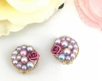 Pearl and rose earrings, earrings, clip on earrings, non pierced earrings,cute,Japan