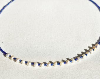 Iridescent Pearl Blue Glass Necklace / Multicolor Blue Bead Necklace / Synthetic Pearl Beaded Necklace / Minimalist Necklace / Gift for Her