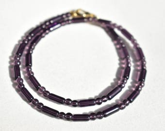 Purple Glass Patterned Necklace / Dark Purple Round Tube Necklace / Minimalistic Patterned Necklace / Minimalist Necklace / Gift for Her