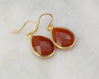Carnelian Gemstone Earrings - Gold Earrings - Sterling Silver Dangle Drop Earrings - Bridesmaid Gift Idea