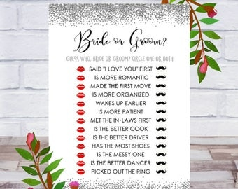 Bride or Groom, Bridal Shower Games, Printable, Who Said It, He Said She Said, Guess Who, Cards, Size 5x7, Silver, Instant DIGITAL DOWNLOAD