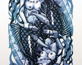 Mermaid lino print 4/15 (blue2)