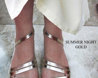 Sandals Women's,Women's Sandals,Handmade Sandals, Leather Sandals, Ladies Santals, Flip Flops, gold Leather Sandals,, SUMMER NIGHT GOLD