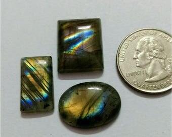 3 Pcs Lot,Mix Shape Labradorite/Attractive Rainbow Flash Labradorite/wire wrap stone/Super Shiny/Pendant Cabochon/Semi PreciousGemstone