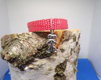 Red flat cord with clown charm bracelet