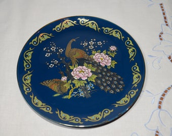 Vintage, Cobalt blue, Japanese plate, decorative, Japan, pheasants among peonies and blossoms, Asian pheasant and flowers, Asian plate