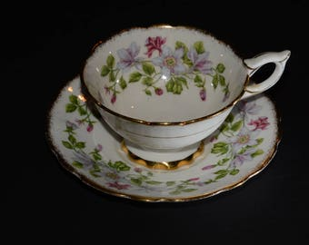 "ROYAL STAFFORD, ""Columbine"" Chintz Teacup, and saucer, Tea Set, Bone China Cups, Made in England, Pink Purple Flowers Vintage,  circa 1950's"