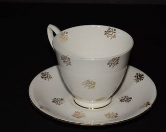 ROYAL ALBERT, Bone China, gold roses, Teacup, and saucer, gold floral design, gold trim, England, 1950s, Valentines Day gift