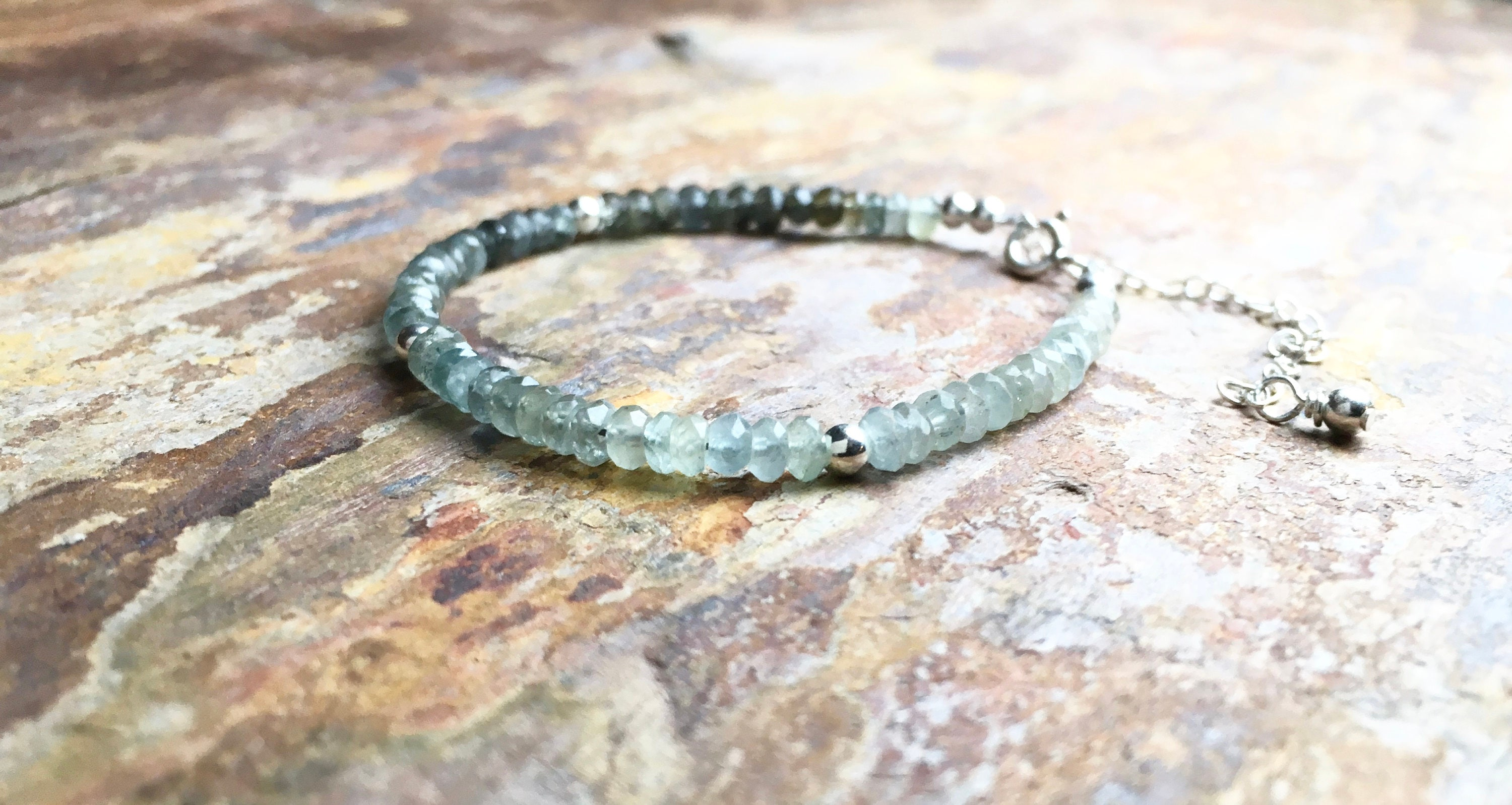 silver vassonite chain stunning aquamarine beautiful adorned with bracelet apatite anklet a idocrase and pin