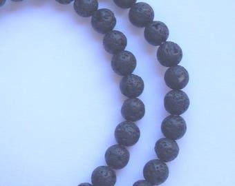 10 beads black volcano lava stone 8 mm