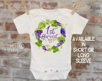 1st Harvest Grape Wreath Onesie®, Wine Onesie, Grapes Onesie, Fall Onesie, Funny Onesie, Cute Onesie, Boho Baby Onesie - 335
