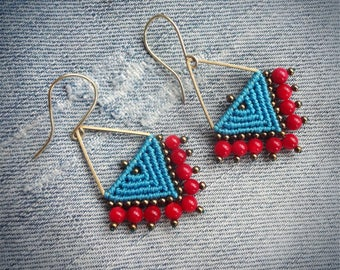 macrame earrings, handcrafted beaded earrings