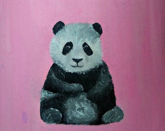Baby Panda Original Acrylic Painting Animal Painting Original Acrylic painting Panda painting Panda wall art Animal Wall art Home decoration