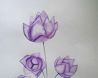 Original Watercolor Flower Painting on A3 Waterolor papper