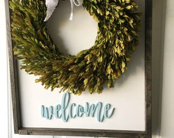 Welcome Farmstyle Wood Sign - Door wreath sign - Framed Wood Sign - Door Sign - Welcome Sign - Door Decor - Wreath Accent - Welcome - Decor