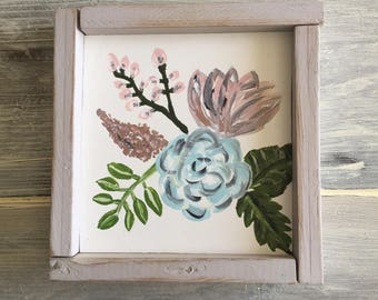 Floral painting - floral framed painting - wood floral painting framed - flowers painted - framed decor - flowers