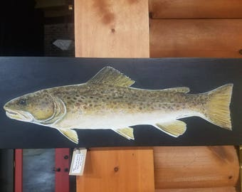 Large Brown Trout Acrylic Painting On Wood - Realistic Painting