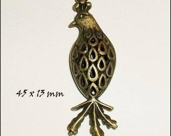 """1 pendant charm """"3D"""" Ajoure 45 x 13 mm metal bronze"""