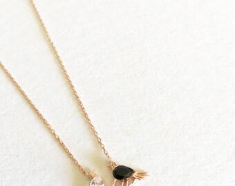 Black White Bird Necklace, Friendship Sterling Silver Necklace, Crystal Onyx Love Necklace,