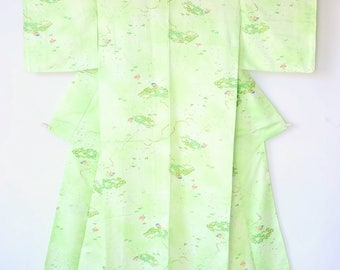 Authentic Japanese Vintage Green Kimono M161
