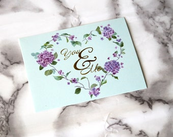 You & Me Text Blank Card, Floral Theme Postcard, Birthday Gifts For Her, Floral Vibes, Romantic Card, Anniversary Card Gifts, Retro Theme