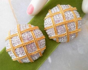 Vintage SWAROVSKI Swan LOGO Clip Earrings Huge Pave Crystal Basketweave Gold Tone Rhinestone Runway Dramatic Valentines Day Gift Designer