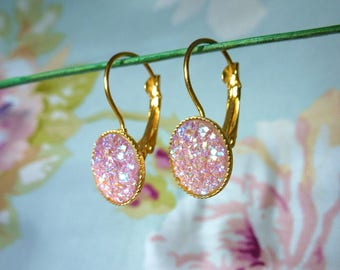 Pink frosted earrings stud earring rose gold and sparkly.