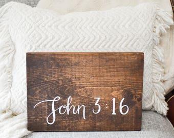 Custom Bible Verse Sign  John 3:16 Sign, Hand Lettering, Hand Painted Sign, Scripture Wall Art, Wood Sign, Farmhouse Decor, Christian Art