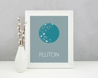 Lamina Pluton, Lamina Infantil, Lamina decorativa, Impresión digital, Plutón Art, Pluton Print, Space poster