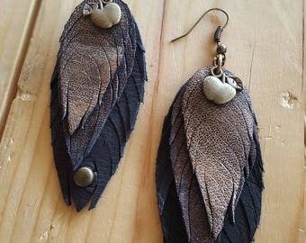 Leather earrings brown black apple feathers peacock