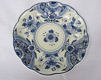 Vintage Delft Blue Porcelain Plate From The Porceleyne Fles, With Beautiful Decor, From 1951-1954
