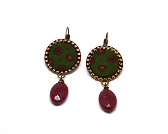 Copper Earrings Pendants with ruby root, vintage fabric in floral pattern silk see, burgundy, yellow