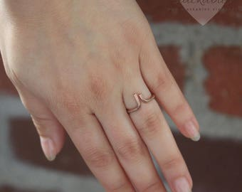 Rose Gold Open Cuff Ring, Silver Stackable Rings, Open Ring, Midi Ring, Stacking Ring, Dainty Ring, Minimalist Ring, Adjustable Wire Ring