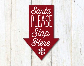 Vintage Christmas SVG, Joanna Gaines Christmas, Santa Stop Here, Magnolia Farms, Fixer Upper, SVG, Stencil, Print, Cut File, Vector, DXF