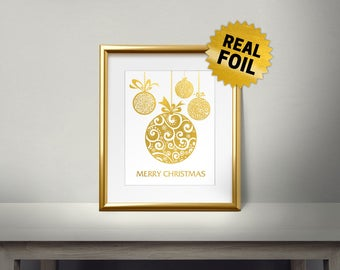 Modern Christmas Ornament Print, Real Gold Foil Print, Merry Christmas, Gold Wall Art, Christmas Decor, Moder Style, Holiday Decoration