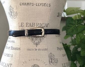 vintage leather + silver link belt | womens