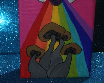 "Hand Painted Psychedelic Psilocybin ""Golden Teachers"" All Seeing Eye Purple Mohave Turquoise Mini Canvas"