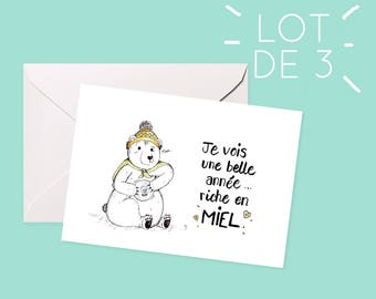 Set of 3 mixed greeting cards / / Montreal, illustration, Christmas, happy new year.