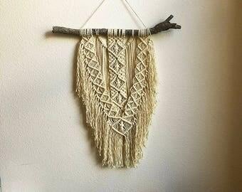 Medium Macrame Wall Hanging, Medium Woven Wall Hanging, Tapestry, Boho Hippie Tapestry Wall Hanging