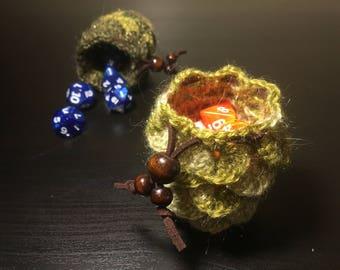 Small Metallic Green Dragon Scale Crochet Bag