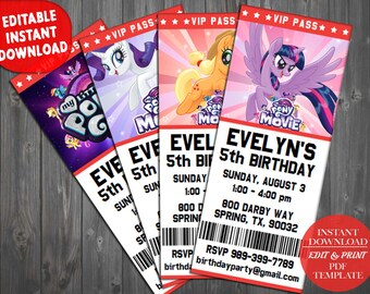 My Little Pony Birthday Invitation, My Little Pony Invitations, MLP Invitation, My Little Pony Party Invite, My Little Pony Movie Invitation