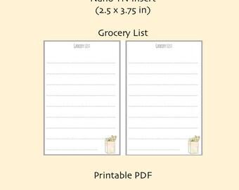 Nano Grocery List TN Insert- Printable TN Inserts