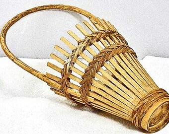 Vintage Japanese Ikebana Bamboo Basket – Long Handle Flower Arrangement Basket – Vintage Bamboo Handwoven Basket – Tea Party, Home Décor