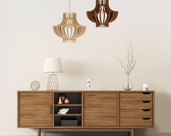 "Wood Lamp / Wooden Lamp Shade / Hanging Lamp / Pendant Light / Decorative Ceiling Lamp / Scandinavian Style Lamp / Modern Lamp / ""Saturnas"""
