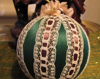 Vintage Handmade Christmas Ornament w Ribbons, Satin, Felt, Velveteen, Lace, and Cloth Flowers and Leaves circa 1970s