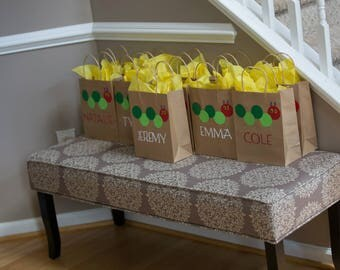 The Very Hungry Caterpillar favor bags, Favor Bags, Party Bags, Goodie bags, The Very Hungry Caterpillar