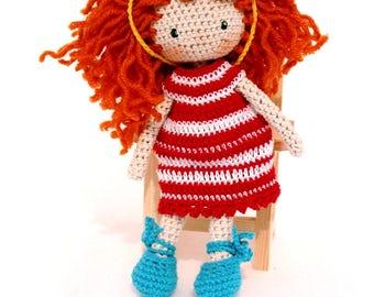 Amigurumi doll,Crochet doll,handmade doll,rag doll, nursery decor, crochet girl doll , girl amigurumi ,good fortune doll,redhead doll