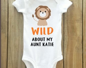 Lion baby shirt, Aunt gift for baby, Aunt shirt for baby, baby shower gift, aunt gift, i love my auntie, lion shirt, personalized aunt shirt