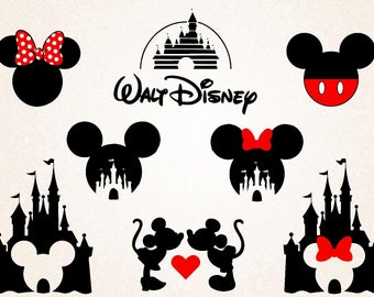 Disney Castle Clipart/Disney Castle Silhoutte/ Minnie svg /Mickey svg /png 300 ppi,eps/Mickey and Minnie heads/Printable/Digital File